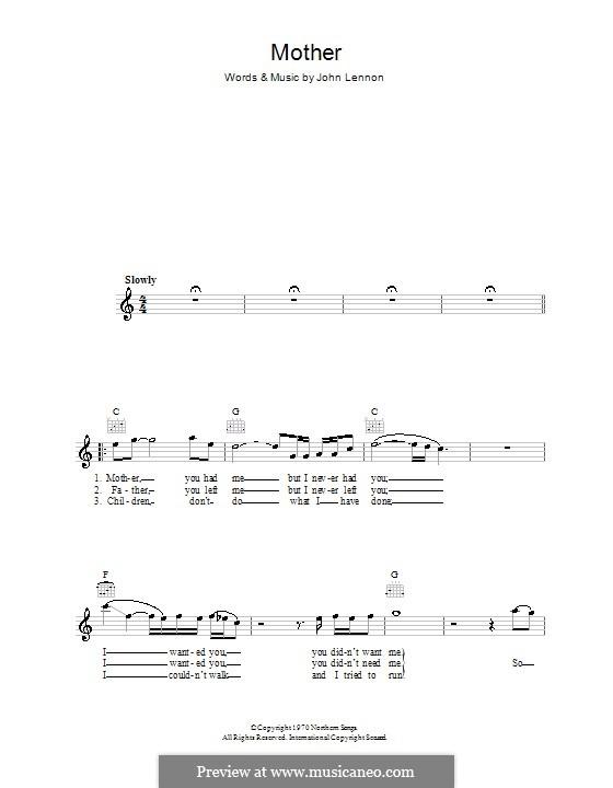 Mother: Мелодия, текст и аккорды by John Lennon