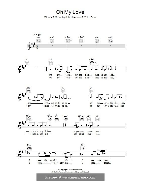 Oh My Love: Мелодия, текст и аккорды by John Lennon, Yoko Ono