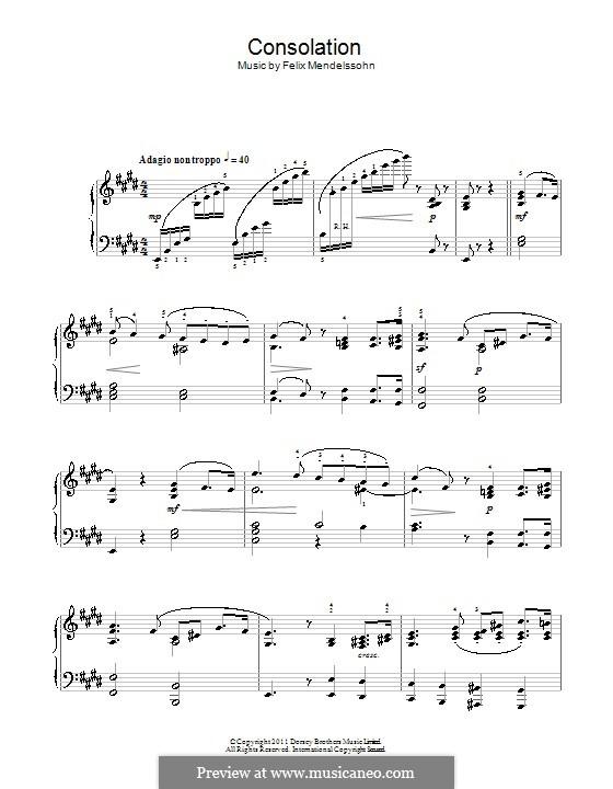 Песни без слов, Op.30: No.3 Adagio non troppo by Феликс Мендельсон-Бартольди