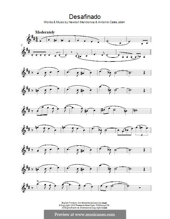Desafinado (Slightly Out of Tune): Для альтового саксофона by Antonio Carlos Jobim