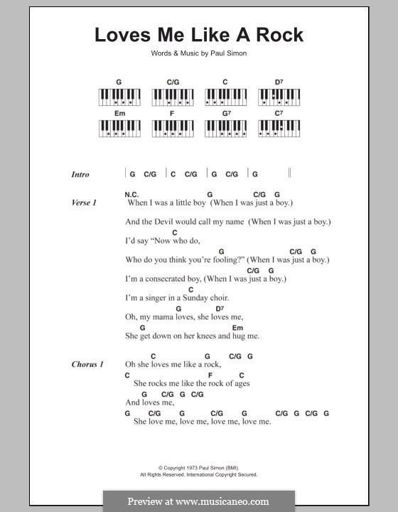 Loves Me Like a Rock: Текст и аккорды для фортепиано by Paul Simon