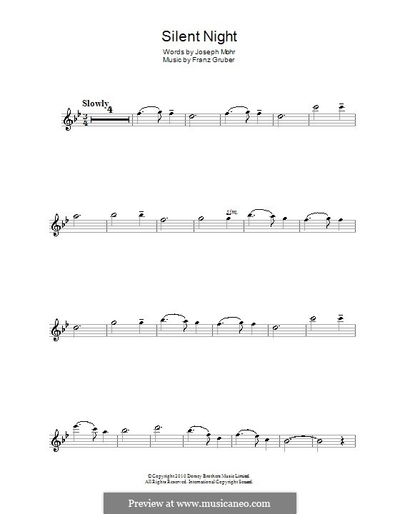 Тихая ночь (ноты для печати): Для флейты by Франц Ксавьер Грубер