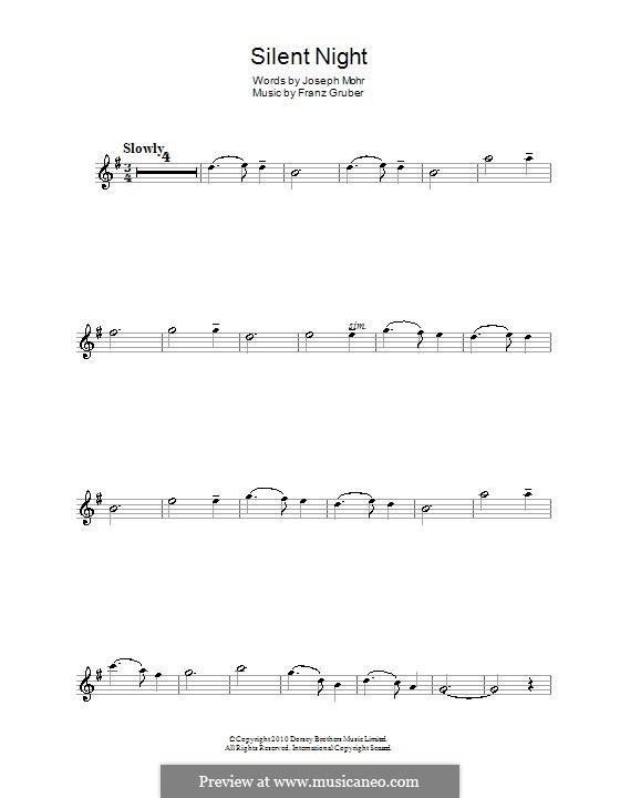 Тихая ночь (ноты для печати): Для альтового саксофона by Франц Ксавьер Грубер