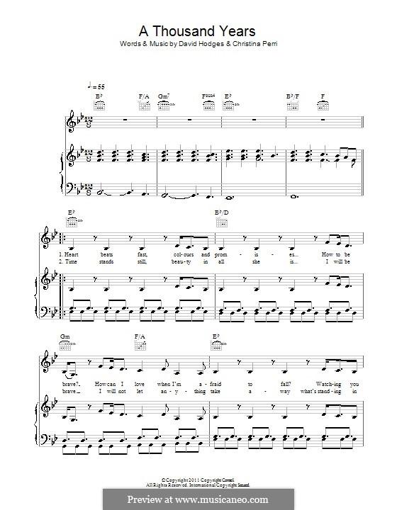 A Thousand Years: Для голоса и фортепиано (или гитары) by Christina Perri, David Hodges