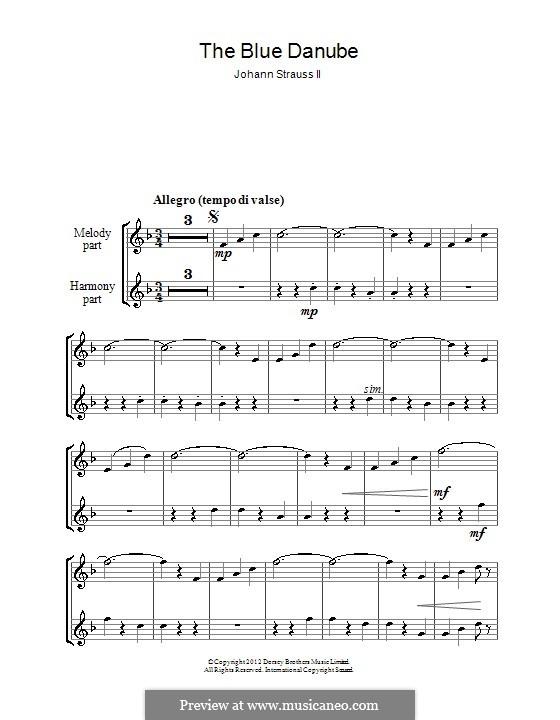 На прекрасном голубом Дунае, Op.314: Для блокфлейты by Иоганн Штраус (младший)