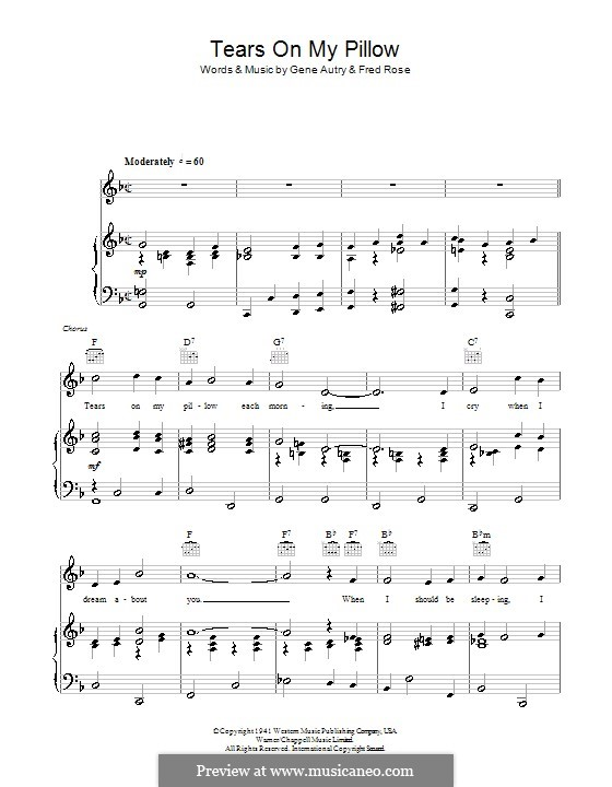 Tears on My Pillow: Для голоса и фортепиано (или гитары) by Fred Rose, Gene Autry
