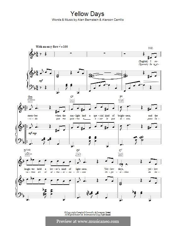 Yellow Days (Frank Sinatra): Для голоса и фортепиано (или гитары) by Alan Bernstein, Alarcon Carrillo