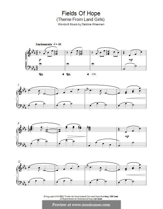 Fields of Hope (Theme from Land Girls): Для фортепиано by Debbie Wiseman