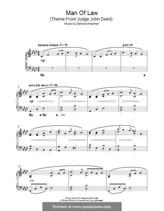 Man of Law (Theme from Judge John Deed): Для фортепиано by Debbie Wiseman