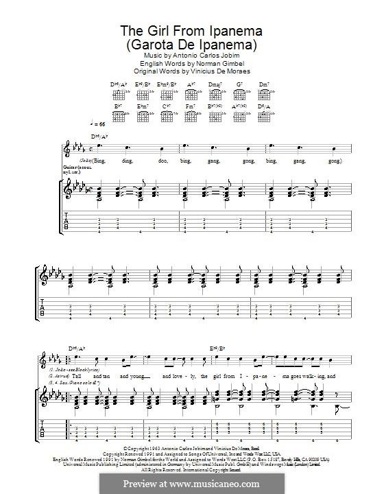 The Girl from Ipanema (Garota de Ipanema): Гитарная табулатура by Antonio Carlos Jobim