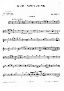 Ноктюрны, Op.55: No.2, для скрипки и фортепиано – сольная партия by Фредерик Шопен