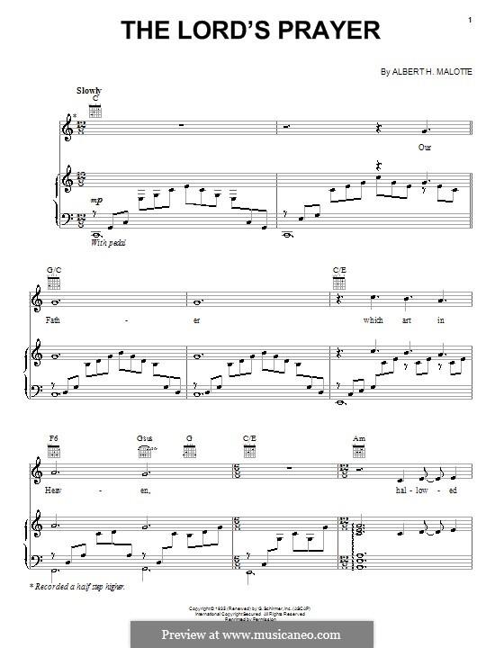 The Lord's Prayer: Для голоса и фортепиано (или гитары) by Albert H. Malotte
