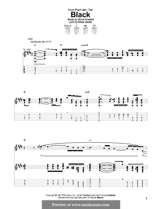 Black (Pearl Jam): Для гитары by Stone Gossard