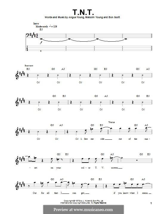 T.N.T. (AC/DC): Для бас-гитары с табулатурой by Angus Young, Bon Scott, Malcolm Young