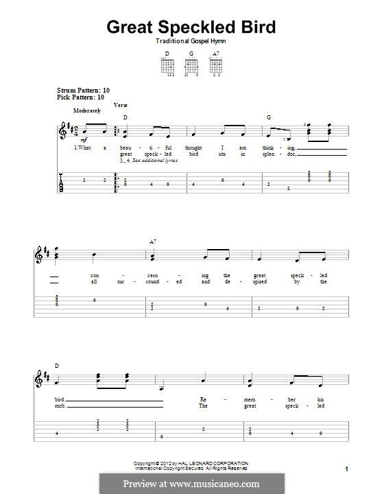 Great Speckled Bird: Для гитары by folklore