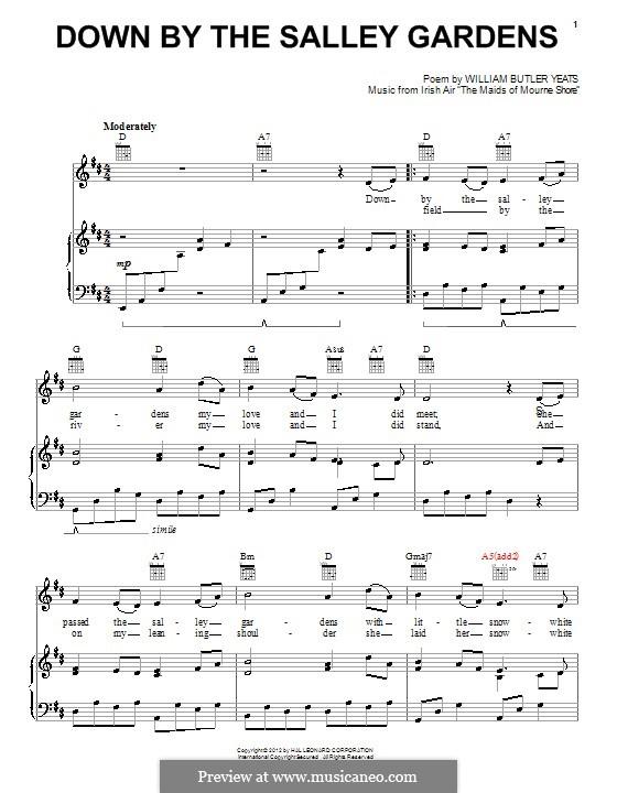 Down By the Sally Gardens: Для голоса и фортепиано (или гитары) by folklore