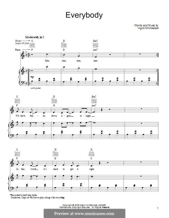 Everybody: Для голоса и фортепиано (или гитары) by Ingrid Michaelson