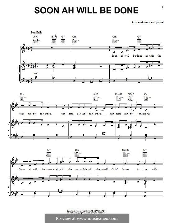 Soon Ah Will Be Done: Для голоса и фортепиано (или гитары) by folklore