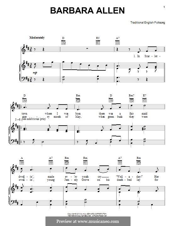 Barbara Allen: Для голоса и фортепиано (или гитары) by folklore
