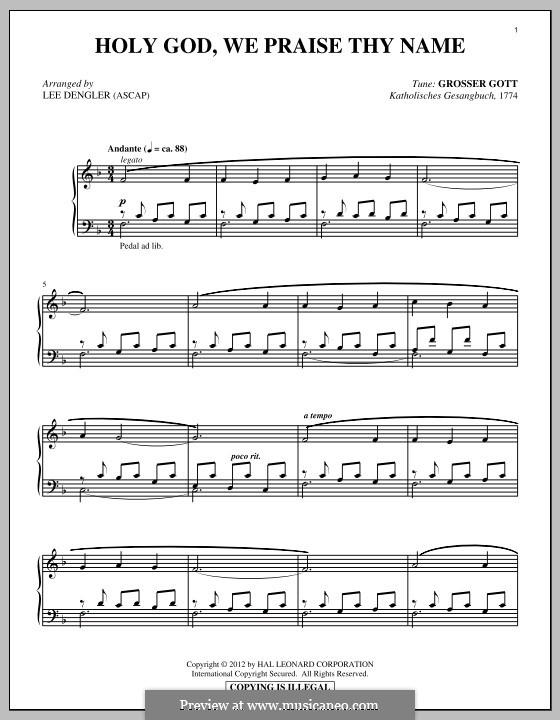 Боже, славим мы Тебя: Для фортепиано by folklore