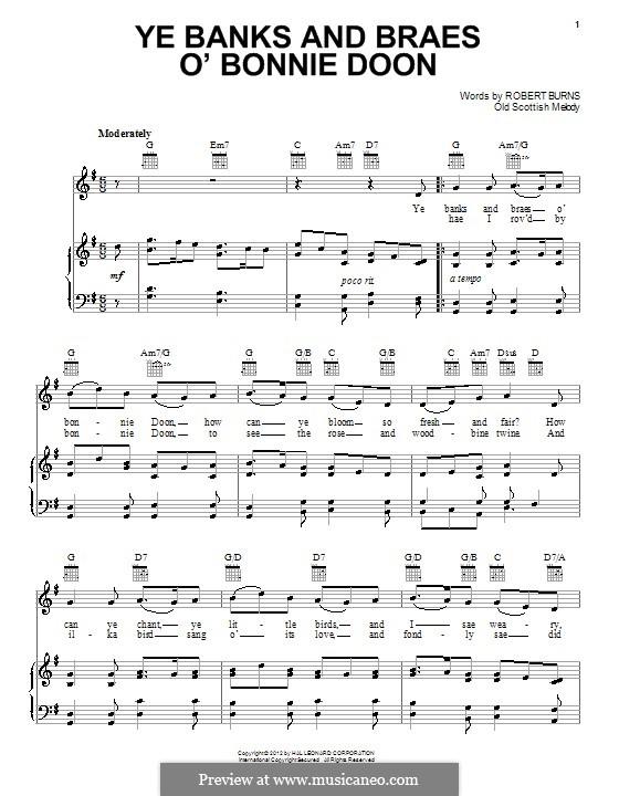 Ye Banks and Braes: Для голоса и фортепиано (или гитары) by folklore