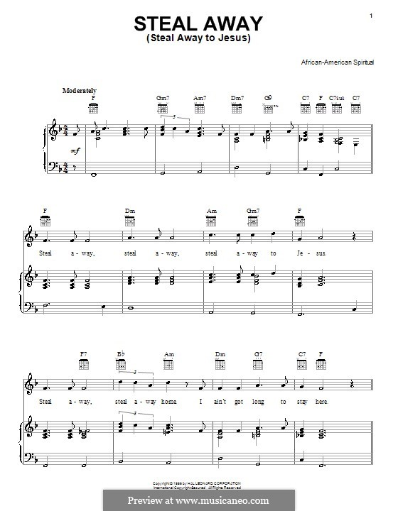 Steal Away (Steal Away To Jesus): Для голоса и фортепиано (или гитары) by folklore