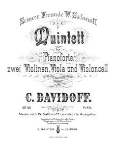 Фортепианный квинтет соль минор, Op.40: Партитура by Карл Давыдов