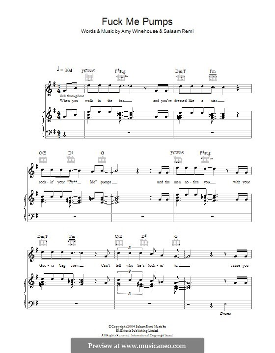 Fuck Me Pumps: Для голоса и фортепиано (или гитары) by Amy Winehouse, Salaam Remi