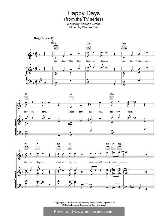 Happy Days: Для голоса и фортепиано (или гитары) by Charles Fox