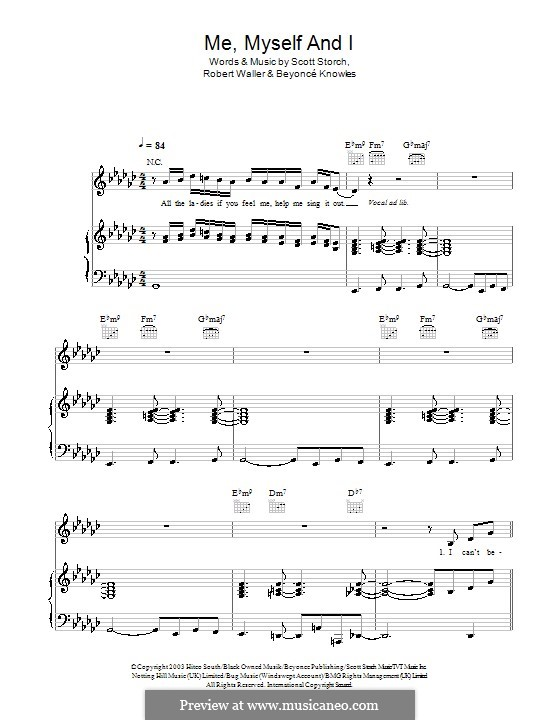Me, Myself and I: Для голоса и фортепиано (или гитары) by Beyoncé, Robert Waller, Scott Storch