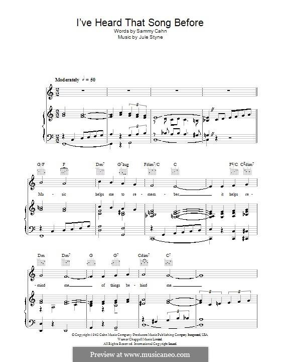 I've Heard That Song Before (Harry James): Для голоса и фортепиано (или гитары) by Jule Styne