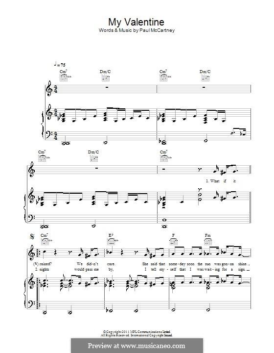 My Valentine: Для голоса и фортепиано (или гитары) by Paul McCartney