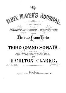 Grand sonata No.3 in B flat major for flute and piano, Op.221: Партитура by Hamilton Clarke