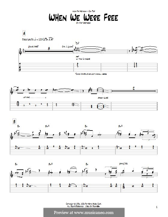 When We Were Free: Для гитары by Pat Metheny