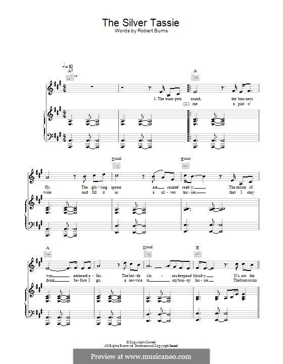 The Silver Tassie: Для голоса и фортепиано (или гитары) by Unknown (works before 1850)
