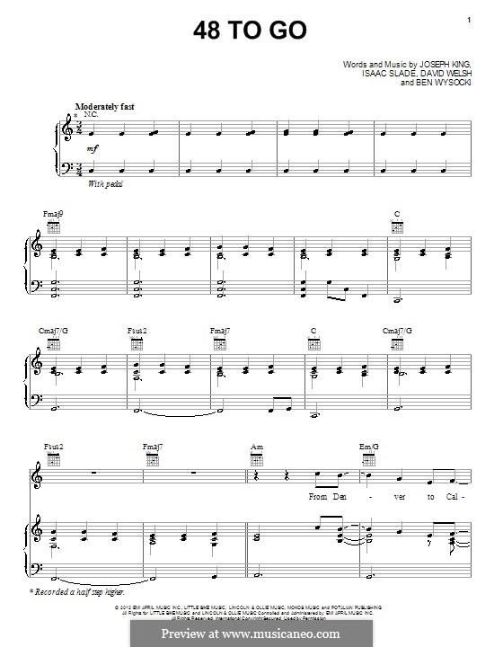 48 To Go (The Fray): Для голоса и фортепиано (или гитары) by Ben Wysocki, David Welsh, Isaac Slade, Joseph King