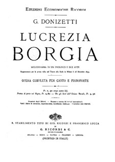 Лукреция Борджиа: Клавир с вокальной партией by Гаэтано Доницетти
