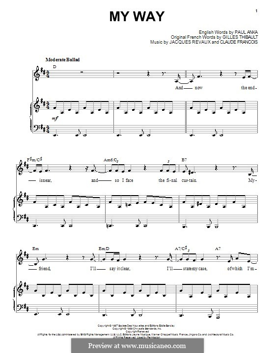 My Way: Для голоса и фортепиано (или гитары) by Claude Francois, Jacques Revaux