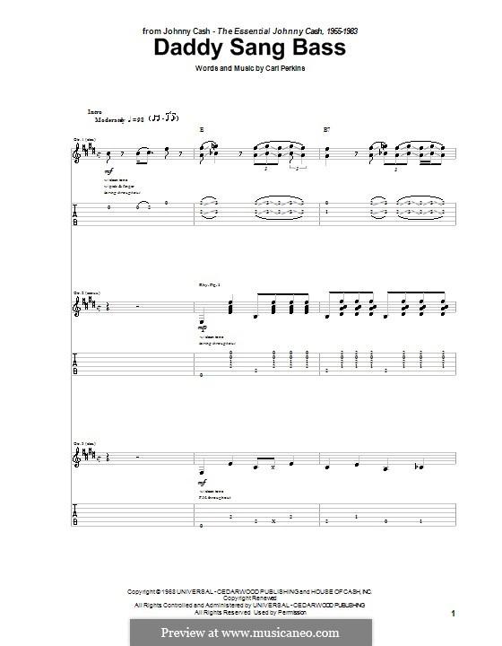 Daddy Sang Bass (Johnny Cash): Гитарная табулатура by Carl Lee Perkins