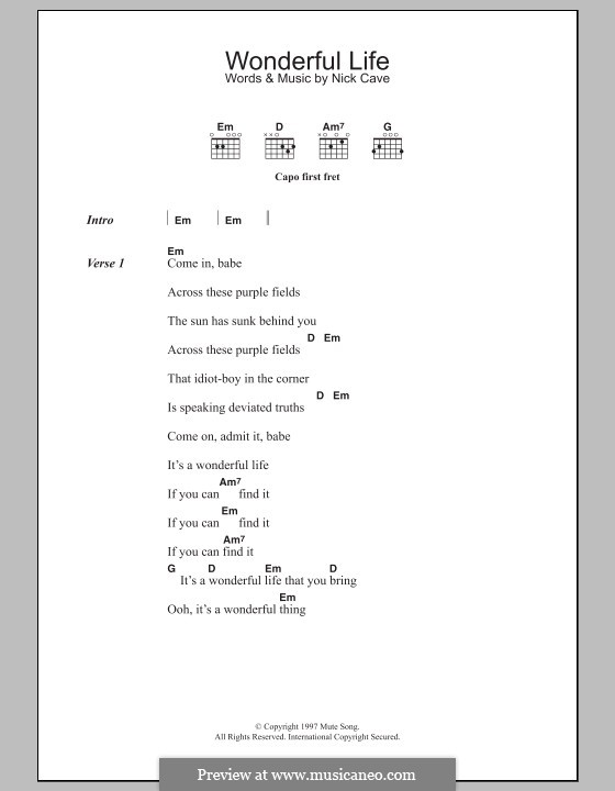 Wonderful Life: Текст, аккорды by Nick Cave
