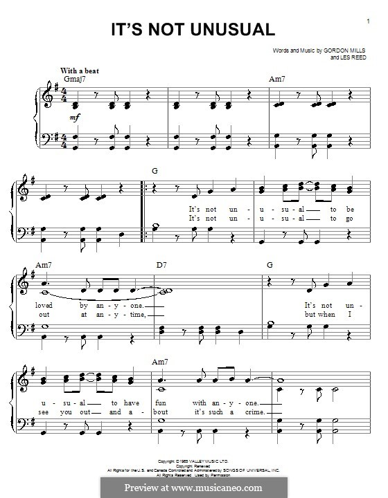 It's not Unusual (Tom Jones): Для фортепиано by Gordon Mills, Les Reed