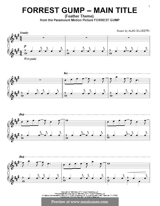 Forrest Gump Suite (Theme): Для фортепиано by Alan Silvestri