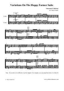 No.10 Веселый крестьянин: For cello duet (beginner cellists) by Роберт Шуман