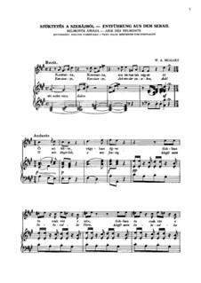 Ария Бельмонта 'Konstanze, dich wieder zu serben': Клавир с вокальной партией by Вольфганг Амадей Моцарт