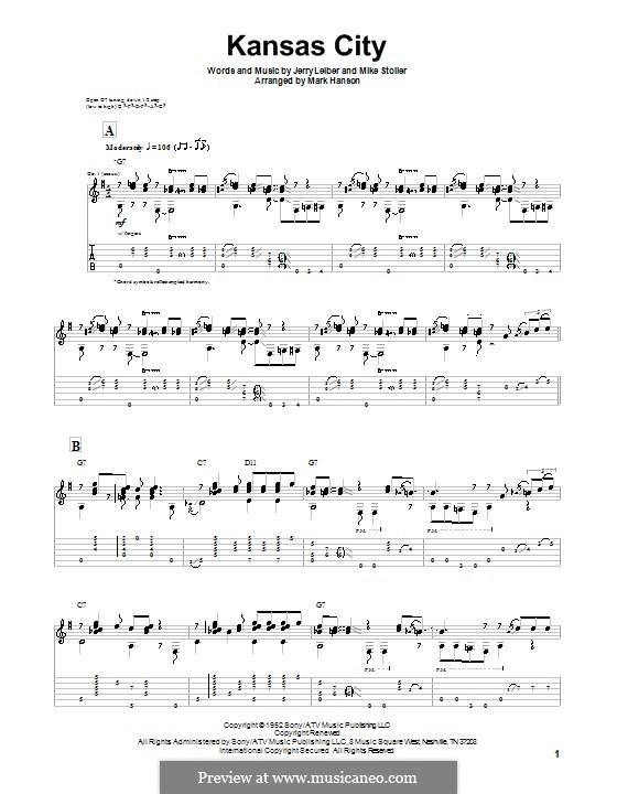 Kansas City: Для гитары by Jerry Leiber, Mike Stoller