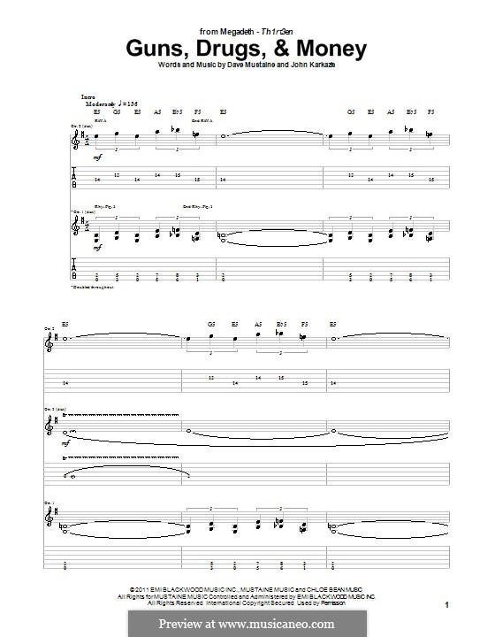 Guns, Drugs, and Money (Megadeth): Для гитары с табулатурой by Dave Mustaine, John Karkazis