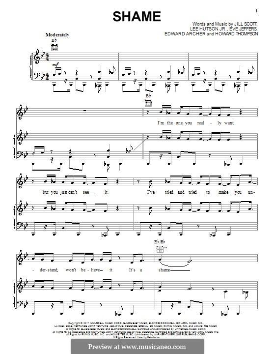 Shame: Для голоса и фортепиано (или гитары) by Eve Jeffers, Howard Thompson, Jill Scott, JR Hutson, Edward Archer