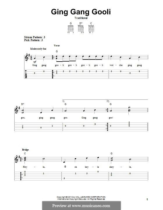 Ging Gang Gooli: Гитарная табулатура by folklore