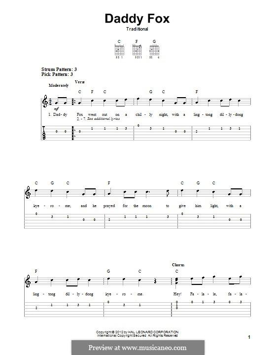 Daddy Fox: Гитарная табулатура by folklore