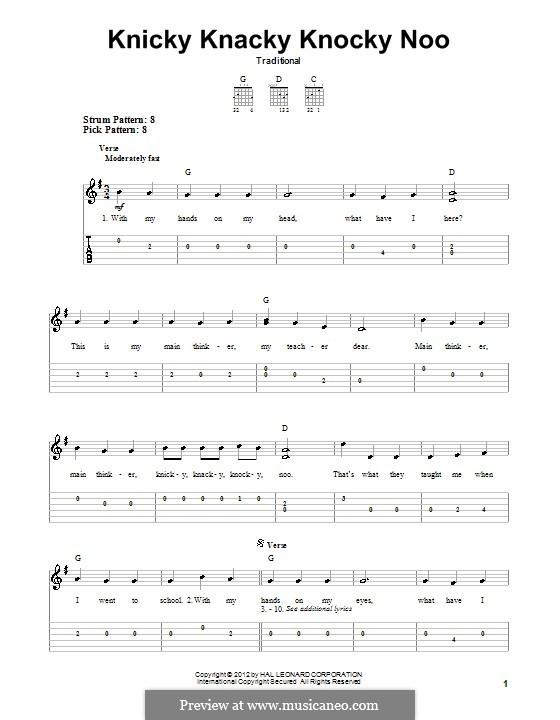 Knicky Knacky Knocky Noo: Гитарная табулатура by folklore